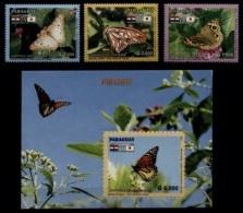 (024-25) Paraguay  2006 / Butterflies / Papillons / Schmetterlinge / Vlinders  ** / Mnh  Michel 4993-95 + BL 477 - Paraguay