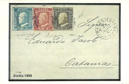 """3288 """"SICILIA 1859 """" SERIE I-IL COLLEZIONISTA/ITALIA FILATELICA-CART. POS. ORIG. NON SPEDITA - Francobolli (rappresentazioni)"""