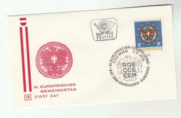 1975 Special FDC EUROPEAN MUNICIPAL ASSOCIATIONS DAY  Heraldic Stamps AUSTRIA Cover - Covers