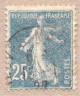 140 Obl Défaut D'impression - Multitude De Points Blancs - 25c Semeuse - 1906-38 Semeuse Camée
