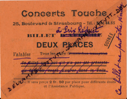 Ancien Ticket D'entrée : CONCERTS TOUCHE, Tarif Réduit, Deux Places, Bd De Strasbourg, Paris, Pub Valentin, Imperméables - Tickets - Vouchers