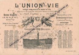 Buvard Usagé (1910) : L'UNION VIE, Place Vendôme, Paris, Rentes Viagères, Assurance Vie, Calendrier, Imp. Frazier-Soye - Non Classés