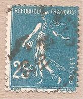 140 Obl Défaut D'impression - Maculé De Points Bleu - 25c Semeuse - 1906-38 Semeuse Camée