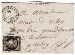 LETTRE AVEC CÉRÈS YT N°3 OCTOBRE 1849 - Postmark Collection (Covers)