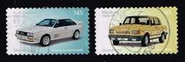 Bund 2018, Michel# 3378 - 3379 O  Klassische Deutsche Automobile: Wartburg 1.3 (1988)/ Audi Quattro (1989) Selbstklebend - Usados