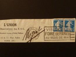 140 X2 Perforé C.A.R. Ind 6 Sur Fragment - 25c Semeuse + Flamme Foire De Paris - France