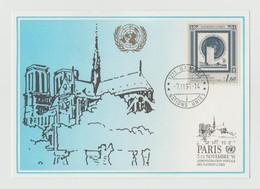 Carte ONU, United Nations, 1991 Paris 07.11.1991 Notre Dame De Paris - Office De Genève