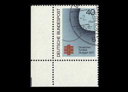 BRD 1973, Michel-Nr. 763, Deutsches Turnfest Stuttgart, 40 Pf., Eckrand Links Unten, Gestempelt - Gebraucht
