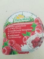 Lithuania Litauen Curd Curd With Raspberry Jam Top - Milk Tops (Milk Lids)