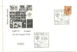 BUSTA   MOSTRA  EUROPEA  SCAUTISMO   1973  CANTU'   COMO - Scoutismo