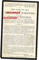 Oorlog Guerre Seraphien Baeyens Berlare Soldaat Gesneuveld Te Boezinge SAS  29 JUNI 1916 Sacré Doodsprentje - Santini
