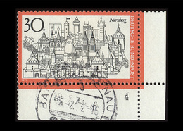 BRD 1971, Michel-Nr. 678, Fremdenverkehr Nürnberg 30 Pf., Eckrand Unten Rechts Mit Formnummer 4, Gestempelt - Gebraucht