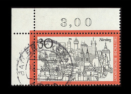 BRD 1971, Michel-Nr. 678, Fremdenverkehr Nürnberg 30 Pf., Eckrand Oben Links, Gestempelt - Gebraucht