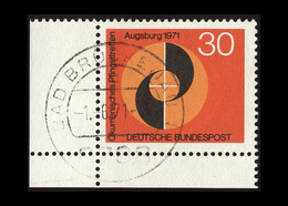 BRD 1971, Michel-Nr. 679, Ökumenisches Pfingsttreffen Augsburg 30 Pf., Eckrand Unten Links, Gestempelt - Gebraucht