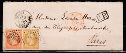 Enveloppe N21+n23 GC5080 Alexandrie-Paris 10/09/64 Cachet Ligne Rouge - 1862 Napoleon III