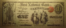 Billet Plaqué Or 24K  1 Dollar First National Bank State Of Indiana  Lebanon  Colorisé UNC - Other - America