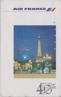 Télécarte Japon / 110-011 - AVIATION - AIR FRANCE - PARIS TOUR EIFFEL - PLANE AIRLINES Japan Phonecard - Avion 2237 - Avions