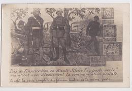 """Insurrection En Haute-Silésie La """"poste Verte"""" Timbres Imprimés Sur Carte Postale Poland Stamps Printed On Postcard 1922 - Pologne"""