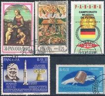 Panama 1966  -  Yvert  387 + 394 + 404 + 414 + 464  AEREOS  ( Usados ) - Panamá