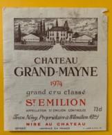 10345 - Château Grand-Mayne 1974 Saint Emilion - Beaujolais