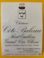 10346 - ChâteauCôte Baleau 1978 Saint Emilion - Beaujolais