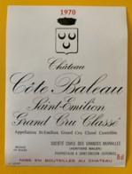 10347 - Château Côte Baleau 1970 Saint Emilion - Beaujolais