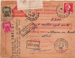 Carte Postale Remboursement 1956 Avec Taxe Gerbe 5f & 20f - Fresnes-sur-Escaut - Marcophilie (Lettres)