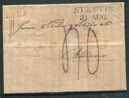Preussen / 1826 / Vorphila-Transitbrief L2-Stempel STETTIN Nach Bordeaux, L1-Stempel CPR.4 (12300) - Germany