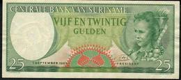 SURINAM P122 25 GULDEN 1963 VF-aXF NO P.h.!decent Note Undervalued In 2019 Cat.! ! - Surinam