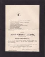 BREE TONGRES Louise-Hubertine JACOBS Veuve Henri Van WESSEM 1825-1907 Famille CATERS BRANTJES - Décès