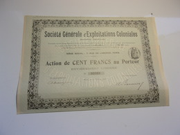 Générale D'exploitations Coloniales (1906) - Azioni & Titoli
