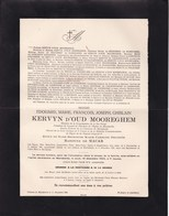 MARIAKERKE Edouard KERVYN D'OUD MOOREGHEM Ancien échevin 1850-1920 époux Henriette De MACAR - Décès