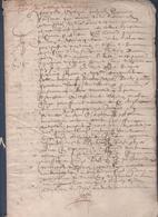 Manuscrit Vers 1600.Belle Calligraphie à Déchiffrer. - Manuscrits