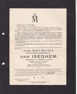 GAND GENTBRUGGE Colonel Emile Van ISEGHEM Commandant Du 3e Régiment De Lanciers 1874-1927 - Décès