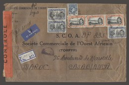 BC - Nigeria. 1944 (11 June). Lagos - Morocco / Casablanca (18 Au). Reg Air Multifkd Comercial Env Depart Red Censor Con - Unclassified