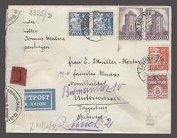DENMARK. 1943 (28 Feb). Kopenhagen - Switzerland (12 March). Air Multifkd Nazi Censored Env. Fine. - Danemark