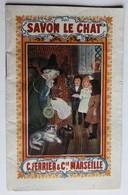 Beau Calendrier Publicitaire 1929 Savon Le Chat C. Ferrier & Cie Marseille Carnet De Blanchissage Illustrations - Calendriers