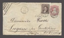 ARGENTINA. 1883 (27 Feb). Gualeguaychu - Switzerland / Lugano (31 March). 8c Red Stat Env + 4c Adtl Cds + Southampton / - Argentina