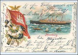 U6434/ Dampfer Fürst Bismarck  Litho AK  Hamburg 1901 - Steamers