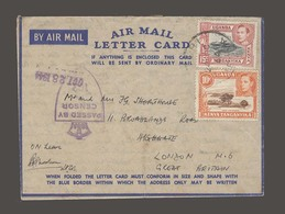 BC - Kenya. 1944 (20 Oct). S African Comand. Nairobi - UK. Airmail Letter Card + 2 Adtl Stamps. Censored Full Text Histo - Non Classés