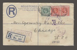BC - Nigeria. 1919 (10 April). Lagos - 2 - USA / Chicago (12 May). Reg 2d Blue Stat Env + 3 Adtl. 9d Rate Cachet. - Unclassified