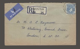 BC - Nigeria. 1951 (14 Aug). Minna - London, UK. Reg Air Single Fkd Env. Via Karo (15 Aug). - Non Classés