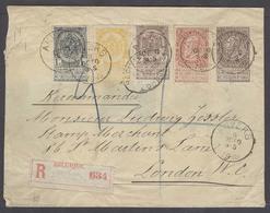 BELGIUM. 1895 (5 Oct). Anvers - UK. (7 Oct). Reg Multifkd Env 50c Rate 5 / 5 Colors Incl 2 Diff 2c Stamps. XF. - Unclassified