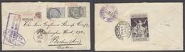BELGIUM. 1900 (16 Oct). Bruxelles - USA / Boston (24 Oct). Reg 75c Rate Fkd Env Incl 50c Green Strip Tied Expo Label On - Belgium