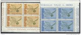 Italia 1965; EUROPA, Serie Completa In Quartine D' Angolo. - 1961-70:  Nuovi