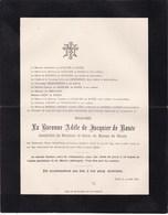 BIOUL GAND AKKERGEM  Adèle Du JACQUIER De ROSEE Veuve Baron De MOREAU De BIOULX 82 Ans 1897 - Décès