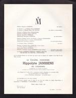 HASSELT BRUXELLES Colonel Des Carabiniers Hippolyte JANSSENS 1874-1961 Faire-part Mortuaire - Décès