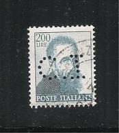 PERFIN ITALIA REPUBBLICA - 1961: MICHELANGIOLESCA - Valore Da Lire 200 Usato (PERFIN) - In Ottime Condizioni. - Perfin