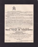 NAZARETH Burgemeester Christian Baron KERVYN De VOLKAERSBEKE Burgemeester Bourgmestre 1877-1931 - Décès