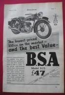 1938  BSA B23 MOTOR CYCLE ORIGINAL MAGAZINE ADVERT - Advertising